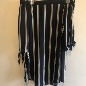 Off The Shoulder Navy Blue Striped Dress